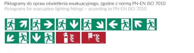 Oprawa ewakuacyjna ONTEC S - Piktogramy