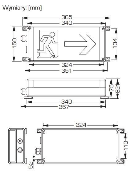 Oprawa przeciwwybuchowa awaryjna LED EXIT dp stref 1;21,2;22 z CNBOP